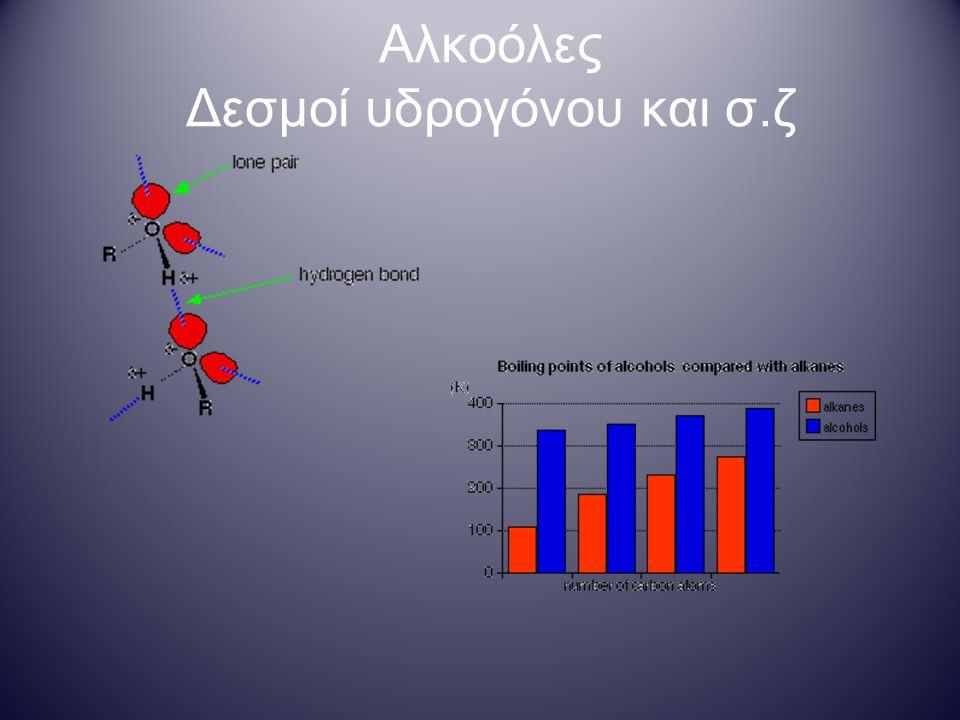 Αλκοόλες Δεσμοί υδρογόνου και διαλυτότητα Αλκοόλες μικρής ανθρακικής αλυσίδας Αλκοόλες μεγάλης ανθρακικής αλυσίδας