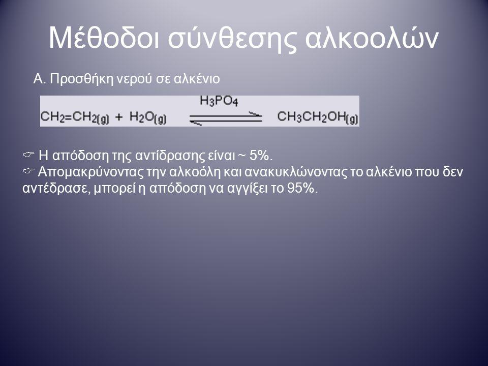 Μέθοδοι σύνθεσης αλκοολών Α. Προσθήκη νερού σε αλκένιο  Η απόδοση της αντίδρασης είναι ~ 5%.  Απομακρύνοντας την αλκοόλη και ανακυκλώνοντας το αλκέν