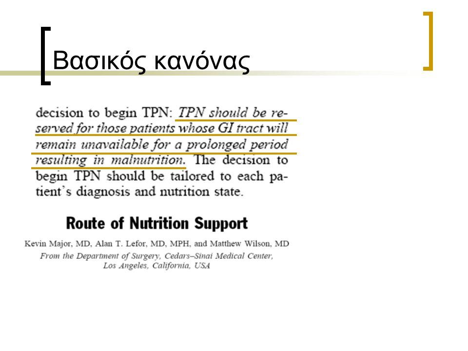 Αίτια κατ' οίκον τεχνητής διατροφής στις Η.Π.Α, μεταξύ 1985-1992 1119 Άλλο νόσημα 24 AIDS 14 Συγγενή εντερικά ελλείμματα 14 Ακτινική εντερίτιδα 321 Διαταραχές κατάποσης 46 Διαταραχές εντερικής κινητικότητας 17 Αγγειακές εντερικές παθήσεις 311 Νόσος Crohn 4542 Νεοπλάσματα Εντερική διατροφή n=3931 % Παρεντερική διατροφή n=5357 % Howard et al.