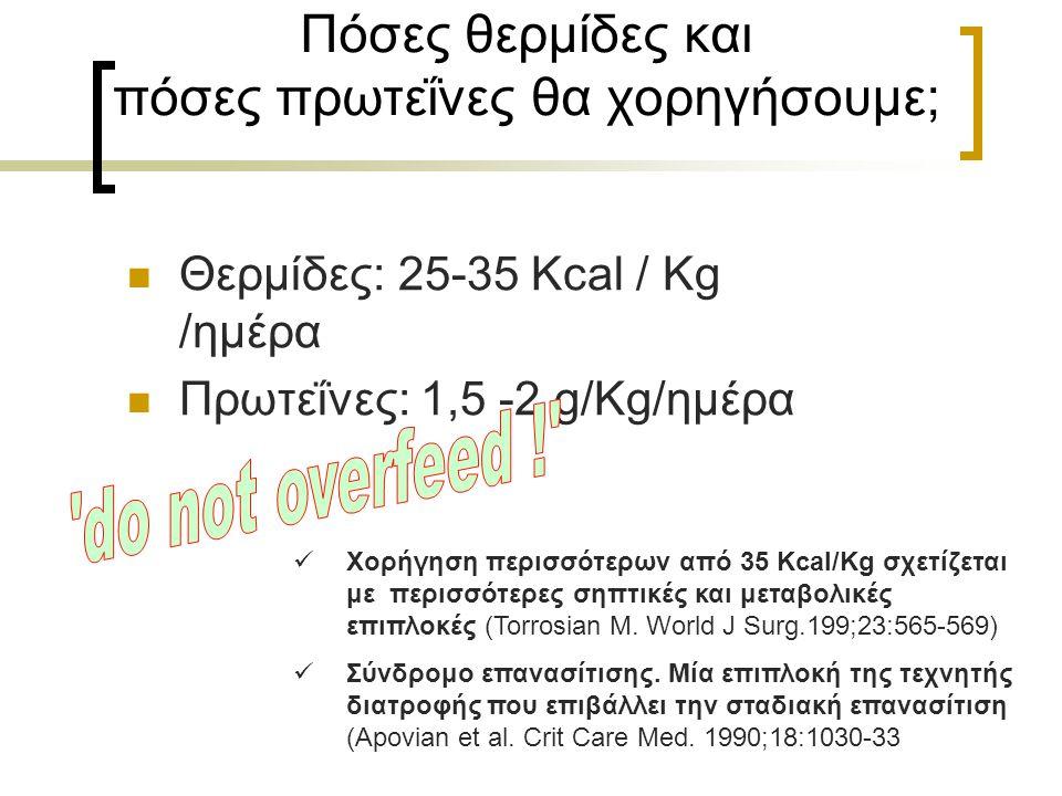 Πόσες θερμίδες και πόσες πρωτεΐνες θα χορηγήσουμε; Θερμίδες: 25-35 Κcal / Kg /ημέρα Πρωτεΐνες: 1,5 -2 g/Kg/ημέρα Χορήγηση περισσότερων από 35 Kcal/Kg