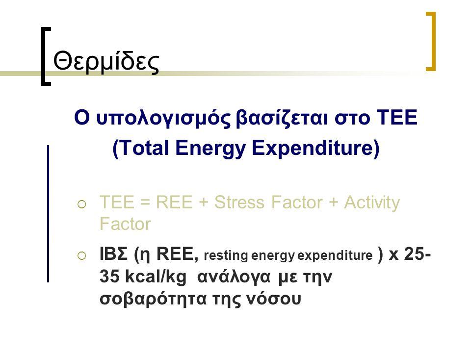 Θερμίδες Ο υπολογισμός βασίζεται στο ΤΕΕ (Total Energy Expenditure)  TEE = REE + Stress Factor + Activity Factor  ΙΒΣ (η REE, resting energy expendi