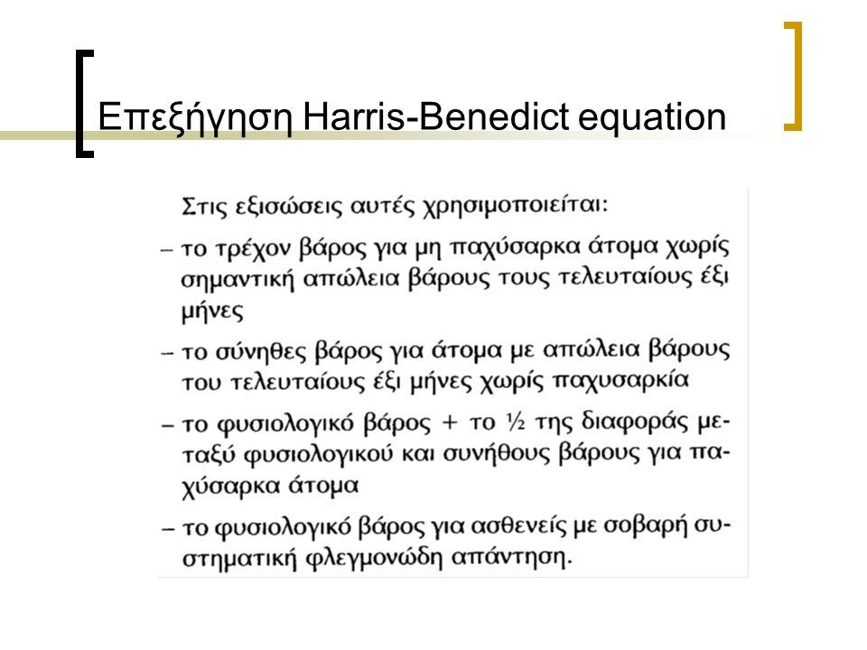 Επεξήγηση Harris-Benedict equation