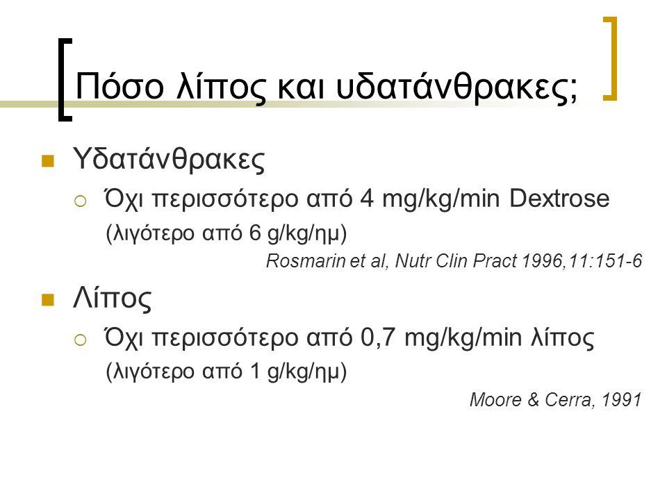 Πόσο λίπος και υδατάνθρακες; Υδατάνθρακες  Όχι περισσότερο από 4 mg/kg/min Dextrose (λιγότερο από 6 g/kg/ημ) Rosmarin et al, Nutr Clin Pract 1996,11: