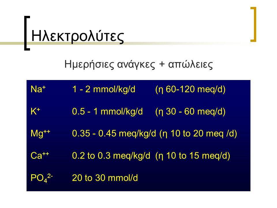 Ηλεκτρολύτες Ημερήσιες ανάγκες + απώλειες Na + 1 - 2 mmol/kg/d (η 60-120 meq/d) K + 0.5 - 1 mmol/kg/d (η 30 - 60 meq/d) Mg ++ 0.35 - 0.45 meq/kg/d (η