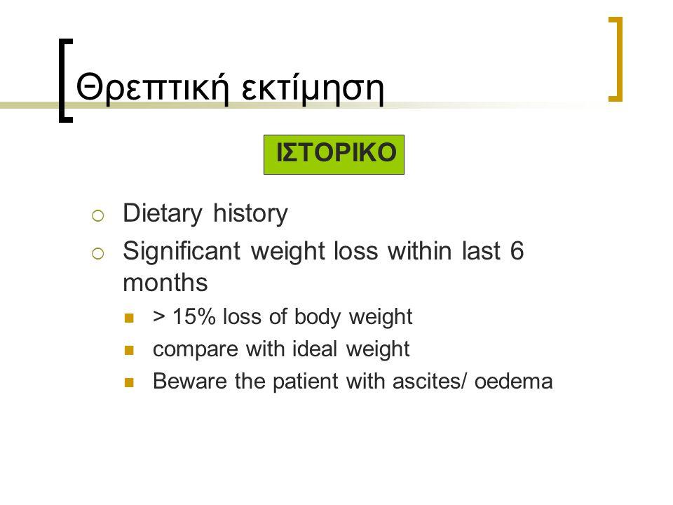 Θρεπτική εκτίμηση ΙΣΤΟΡΙΚΟ  Dietary history  Significant weight loss within last 6 months > 15% loss of body weight compare with ideal weight Beware