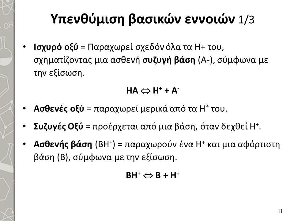 Υπενθύμιση βασικών εννοιών 1/3 Ισχυρό οξύ = Παραχωρεί σχεδόν όλα τα Η+ του, σχηματίζοντας μια ασθενή συζυγή βάση (Α-), σύμφωνα με την εξίσωση. ΗΑ  Η