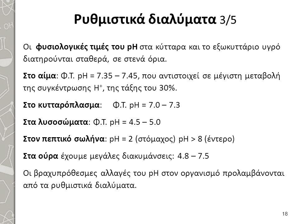 Ρυθμιστικά διαλύματα 3/5 Οι φυσιολογικές τιμές του pH στα κύτταρα και το εξωκυττάριο υγρό διατηρούνται σταθερά, σε στενά όρια. Στο αίμα: Φ.Τ. pH = 7.3