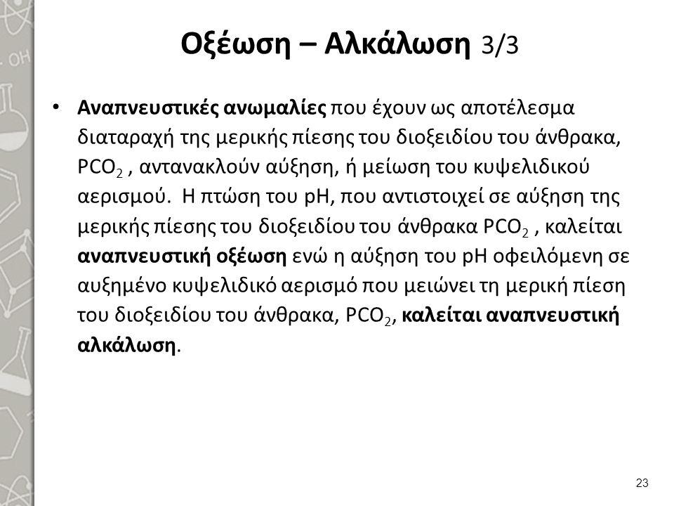 Οξέωση – Αλκάλωση 3/3 Αναπνευστικές ανωμαλίες που έχουν ως αποτέλεσμα διαταραχή της μερικής πίεσης του διοξειδίου του άνθρακα, ΡCO 2, αντανακλούν αύξη