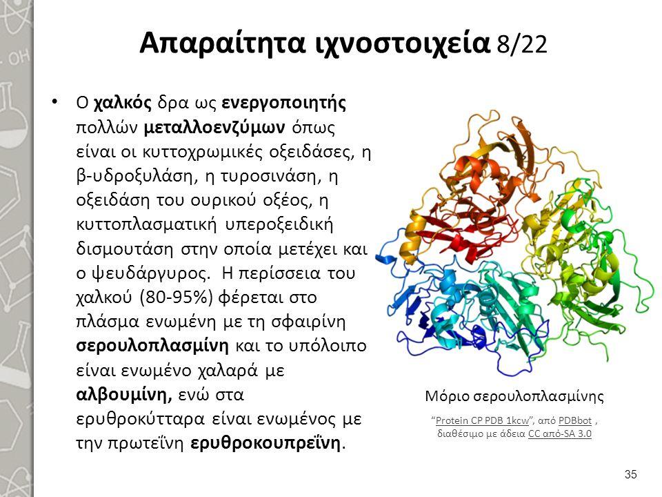 Απαραίτητα ιχνοστοιχεία 8/22 Ο χαλκός δρα ως ενεργοποιητής πολλών μεταλλοενζύμων όπως είναι οι κυττοχρωμικές οξειδάσες, η β-υδροξυλάση, η τυροσινάση,