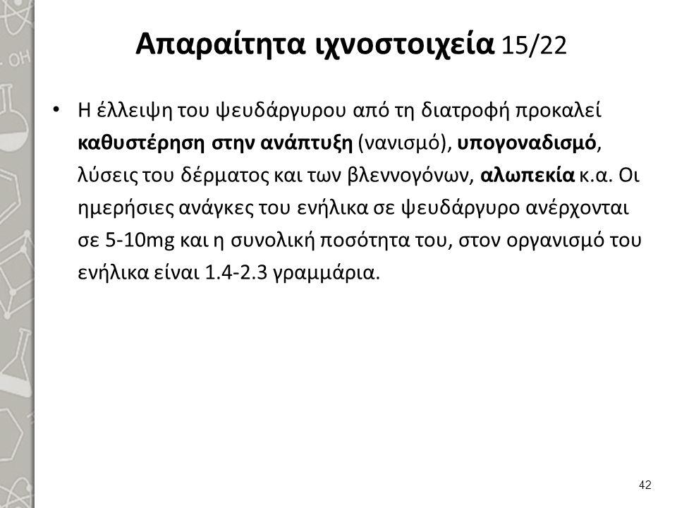 Απαραίτητα ιχνοστοιχεία 15/22 Η έλλειψη του ψευδάργυρου από τη διατροφή προκαλεί καθυστέρηση στην ανάπτυξη (νανισμό), υπογοναδισμό, λύσεις του δέρματο
