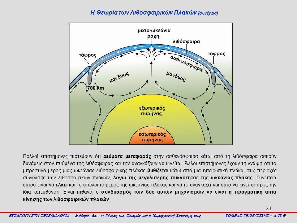 21 Η Θεωρία των Λιθοσφαιρικών Πλακών (συνέχεια) ΕΙΣΑΓΩΓΗ ΣΤΗ ΣΕΙΣΜΟΛΟΓΙΑ Μάθημα 8ο: Η Γένεση των Σεισμών και η Χωροχρονική Κατανομή τους ΤΟΜΕΑΣ ΓΕΩΦΥΣ