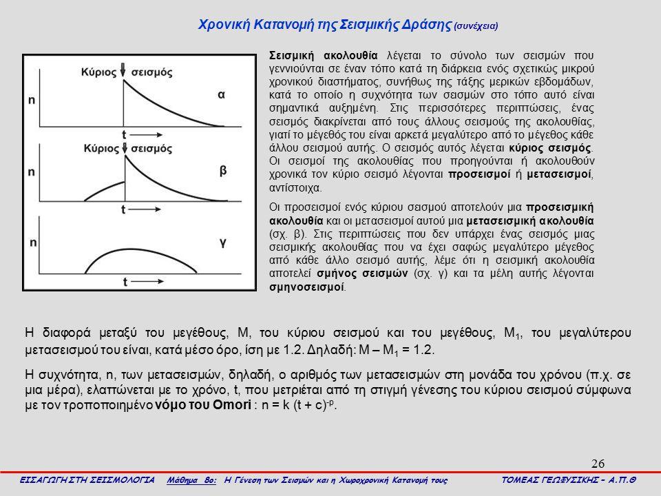 26 Χρονική Κατανομή της Σεισμικής Δράσης (συνέχεια) ΕΙΣΑΓΩΓΗ ΣΤΗ ΣΕΙΣΜΟΛΟΓΙΑ Μάθημα 8ο: Η Γένεση των Σεισμών και η Χωροχρονική Κατανομή τους ΤΟΜΕΑΣ ΓΕ