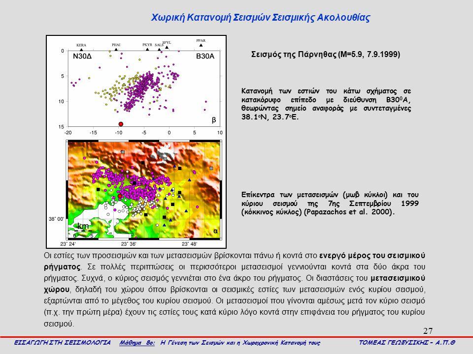 27 Χωρική Κατανομή Σεισμών Σεισμικής Ακολουθίας ΕΙΣΑΓΩΓΗ ΣΤΗ ΣΕΙΣΜΟΛΟΓΙΑ Μάθημα 8ο: Η Γένεση των Σεισμών και η Χωροχρονική Κατανομή τους ΤΟΜΕΑΣ ΓΕΩΦΥΣ
