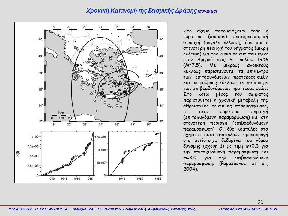31 Χρονική Κατανομή της Σεισμικής Δράσης (συνέχεια) ΕΙΣΑΓΩΓΗ ΣΤΗ ΣΕΙΣΜΟΛΟΓΙΑ Μάθημα 8ο: Η Γένεση των Σεισμών και η Χωροχρονική Κατανομή τους ΤΟΜΕΑΣ ΓΕ