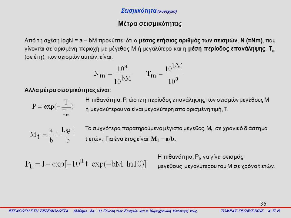 36 Σεισμικότητα (συνέχεια) ΕΙΣΑΓΩΓΗ ΣΤΗ ΣΕΙΣΜΟΛΟΓΙΑ Μάθημα 8ο: Η Γένεση των Σεισμών και η Χωροχρονική Κατανομή τους ΤΟΜΕΑΣ ΓΕΩΦΥΣΙΚΗΣ – Α.Π.Θ Μέτρα σε
