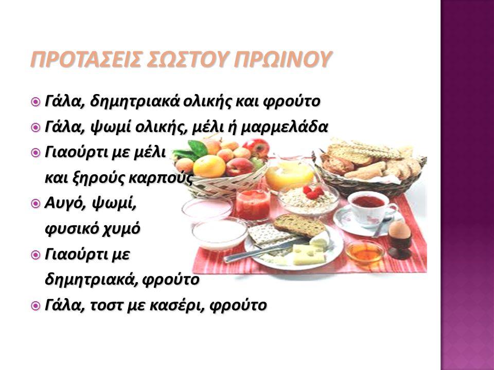 ΠΡΟΤΑΣΕΙΣ ΣΩΣΤΟΥ ΠΡΩΙΝΟΥ  Γάλα, δημητριακά ολικής και φρούτο  Γάλα, ψωμί ολικής, μέλι ή μαρμελάδα  Γιαούρτι με μέλι και ξηρούς καρπούς  Αυγό, ψωμί