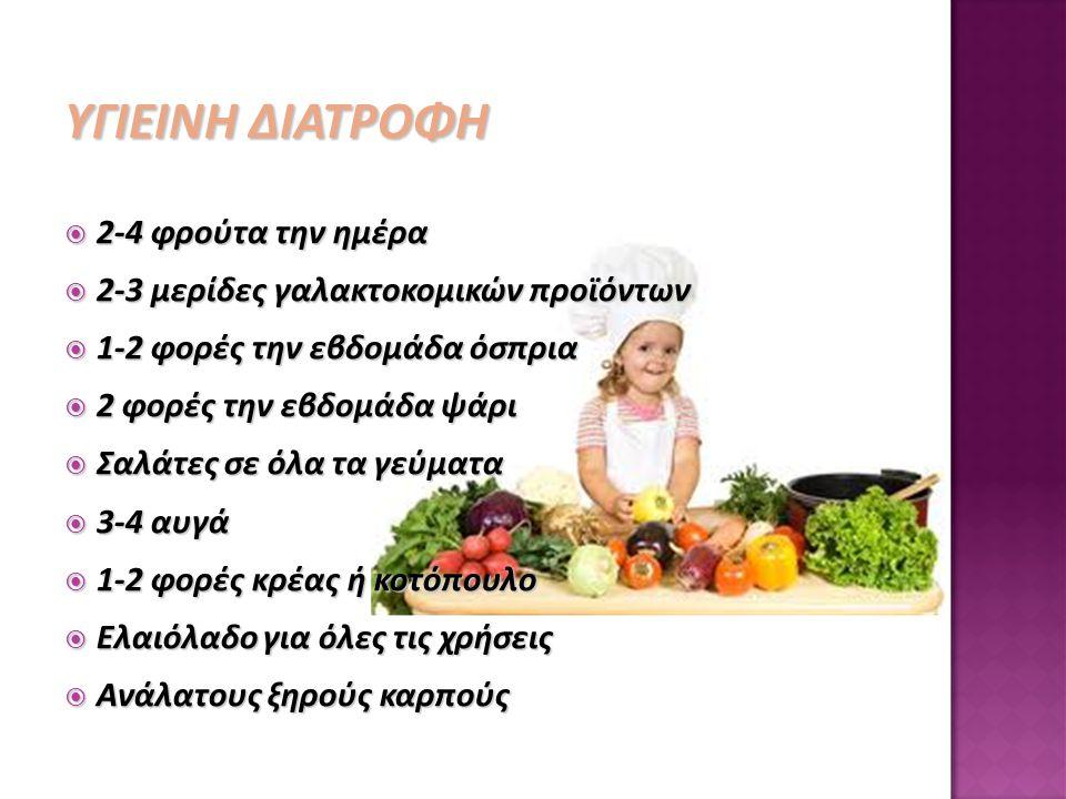 ΥΓΙΕΙΝΗ ΔΙΑΤΡΟΦΗ  2-4 φρούτα την ημέρα  2-3 μερίδες γαλακτοκομικών προϊόντων  1-2 φορές την εβδομάδα όσπρια  2 φορές την εβδομάδα ψάρι  Σαλάτες σ