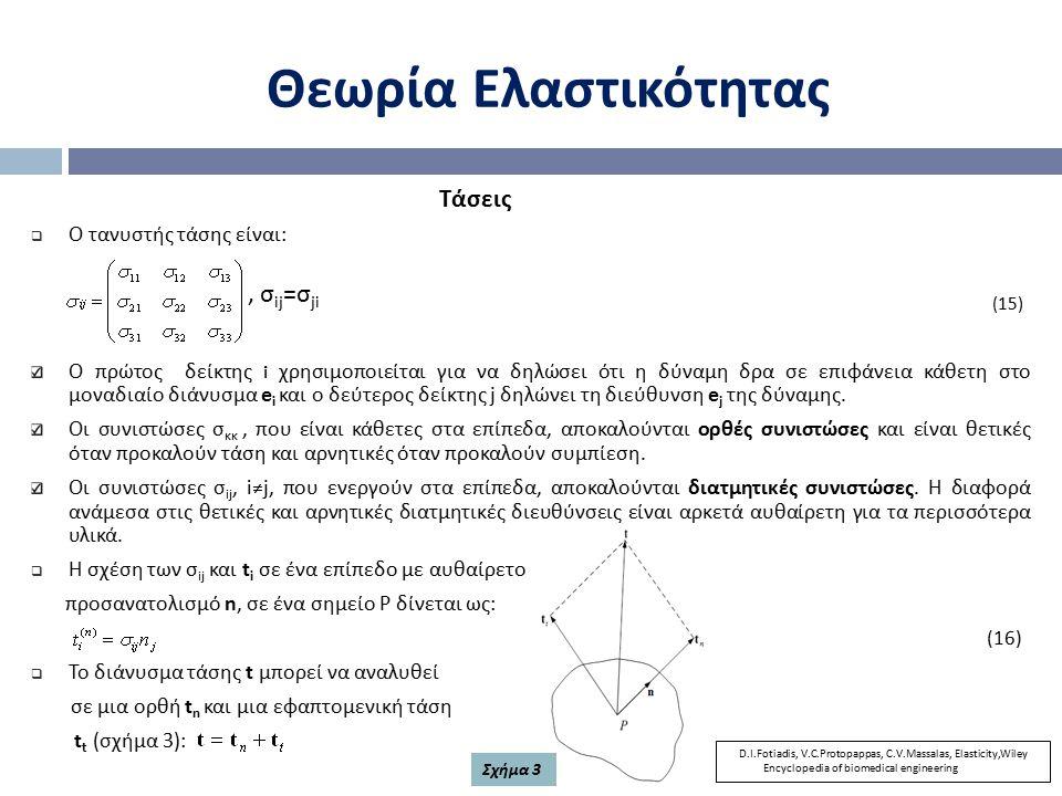Θεωρία Ελαστικότητας Τάσεις  Ο τανυστής τάσης είναι : (15) Ο πρώτος δείκτης i χρησιμοποιείται για να δηλώσει ότι η δύναμη δρα σε επιφάνεια κάθετη στο