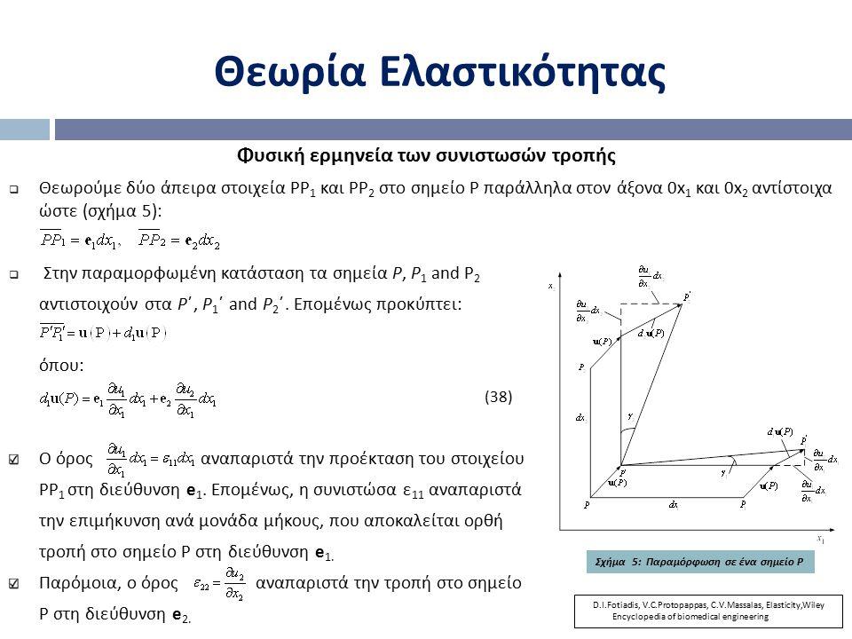 Θεωρία Ελαστικότητας Φυσική ερμηνεία των συνιστωσών τροπής  Θεωρούμε δύο άπειρα στοιχεία ΡΡ 1 και ΡΡ 2 στο σημείο Ρ παράλληλα στον άξονα 0x 1 και 0x