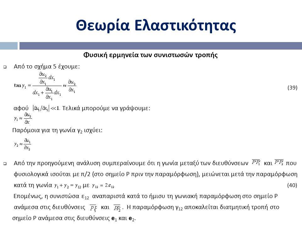 Θεωρία Ελαστικότητας Φυσική ερμηνεία των συνιστωσών τροπής  Από το σχήμα 5 έχουμε: (39) αφού Τελικά μπορούμε να γράψουμε: Παρόμοια για τη γωνία γ 2 ι