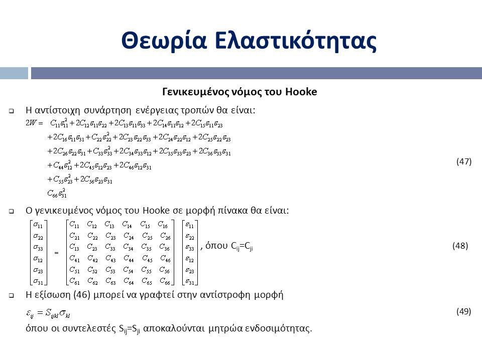 Θεωρία Ελαστικότητας Γενικευμένος νόμος του Hooke  Η αντίστοιχη συνάρτηση ενέργειας τροπών θα είναι : (47)  Ο γενικευμένος νόμος του Hooke σε μορφή