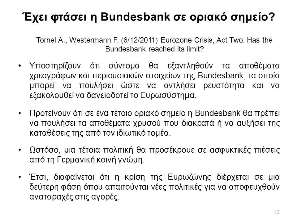 10 Έχει φτάσει η Bundesbank σε οριακό σημείο? Tornel A., Westermann F. (6/12/2011) Eurozone Crisis, Act Two: Has the Bundesbank reached its limit? Υπο