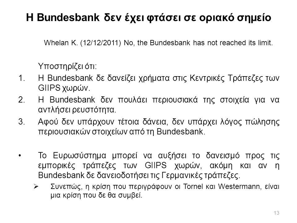 13 Η Bundesbank δεν έχει φτάσει σε οριακό σημείο Whelan K. (12/12/2011) No, the Bundesbank has not reached its limit. Υποστηρίζει ότι: 1.Η Bundesbank