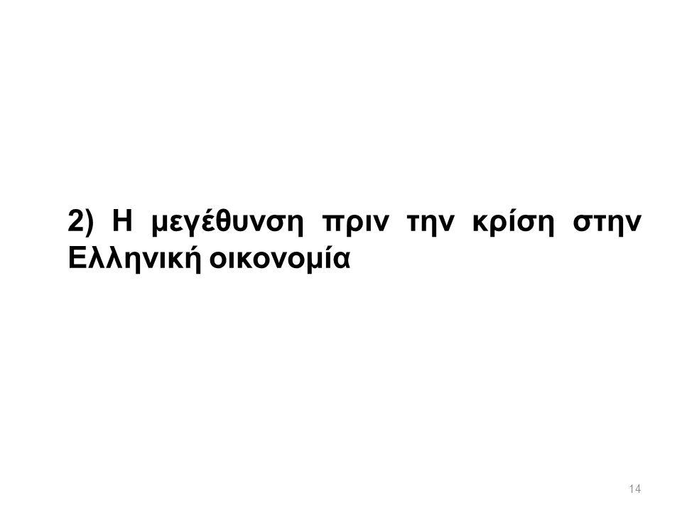14 2) Η μεγέθυνση πριν την κρίση στην Ελληνική οικονομία