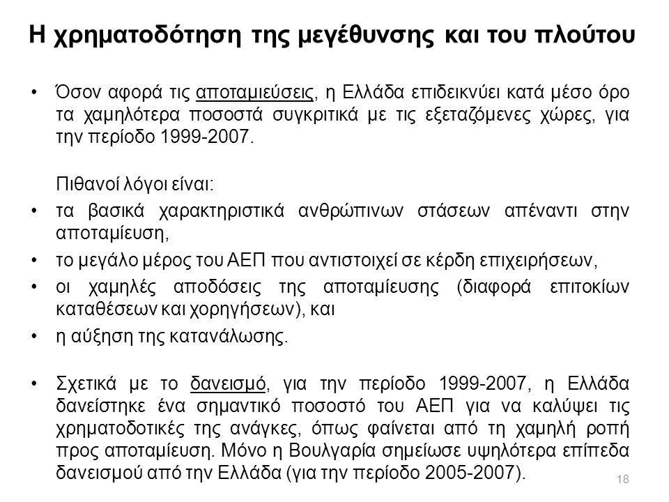 18 Η χρηματοδότηση της μεγέθυνσης και του πλούτου Όσον αφορά τις αποταμιεύσεις, η Ελλάδα επιδεικνύει κατά μέσο όρο τα χαμηλότερα ποσοστά συγκριτικά με