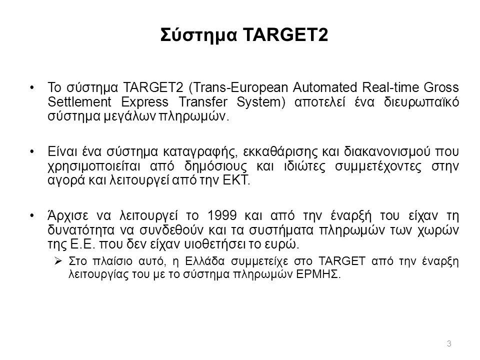 3 Σύστημα TARGET2 Το σύστημα TARGET2 (Trans-European Automated Real-time Gross Settlement Express Transfer System) αποτελεί ένα διευρωπαϊκό σύστημα με