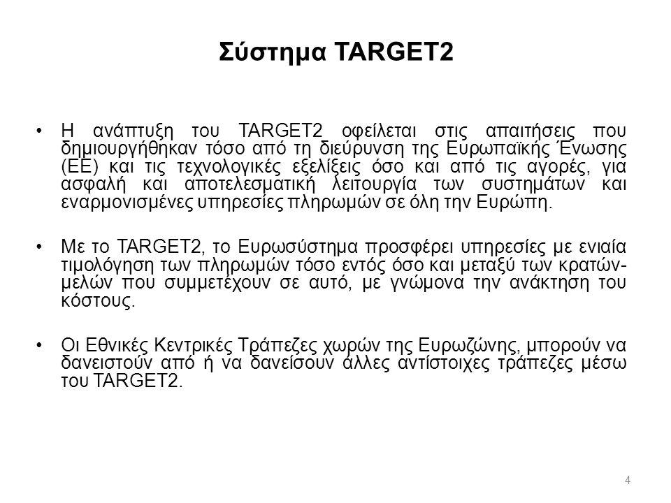 4 Σύστημα TARGET2 H ανάπτυξη του TARGET2 οφείλεται στις απαιτήσεις που δημιουργήθηκαν τόσο από τη διεύρυνση της Ευρωπαϊκής Ένωσης (ΕΕ) και τις τεχνολο