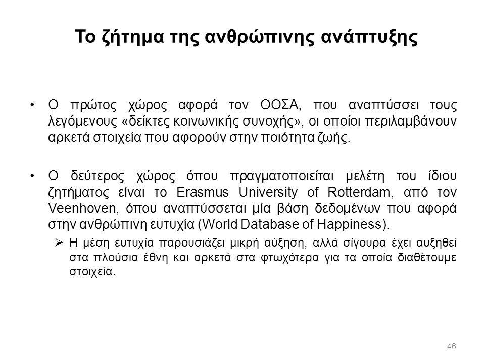 46 Το ζήτημα της ανθρώπινης ανάπτυξης Ο πρώτος χώρος αφορά τον ΟΟΣΑ, που αναπτύσσει τους λεγόμενους «δείκτες κοινωνικής συνοχής», οι οποίοι περιλαμβάν