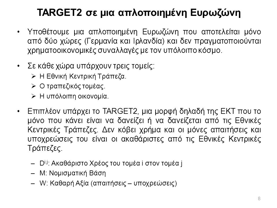 8 TARGET2 σε μια απλοποιημένη Ευρωζώνη Υποθέτουμε μια απλοποιημένη Ευρωζώνη που αποτελείται μόνο από δύο χώρες (Γερμανία και Ιρλανδία) και δεν πραγματ