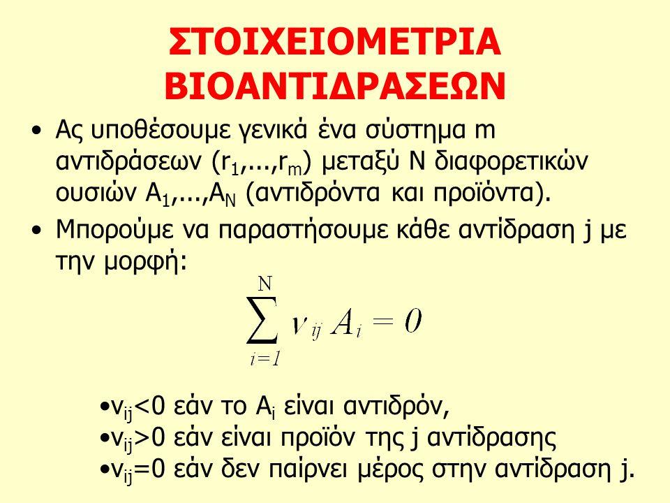 ΣΤΟΙΧΕΙΟΜΕΤΡΙΑ ΒΙΟΑΝΤΙΔΡΑΣΕΩΝ Ας υποθέσουμε γενικά ένα σύστημα m αντιδράσεων (r 1,...,r m ) μεταξύ Ν διαφορετικών ουσιών Α 1,...,Α Ν (αντιδρόντα και π