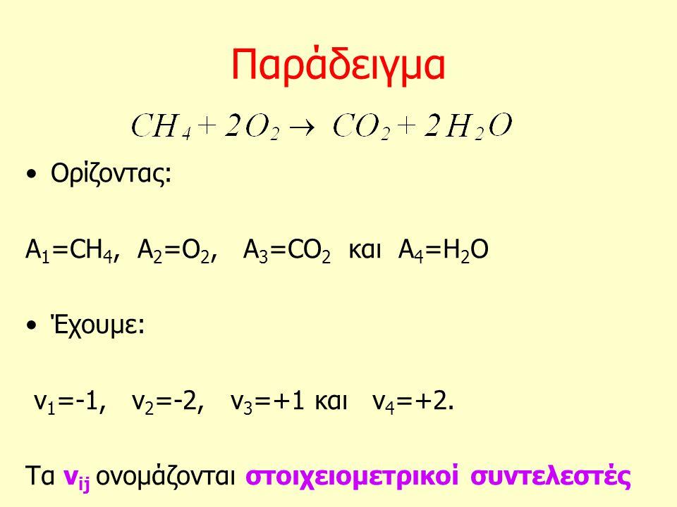 Παράδειγμα Ορίζοντας: Α 1 =CH 4, A 2 =O 2, A 3 =CO 2 και A 4 =H 2 O Έχουμε: ν 1 =-1, ν 2 =-2, ν 3 =+1 και ν 4 =+2. Τα ν ij ονομάζονται στοιχειομετρικο