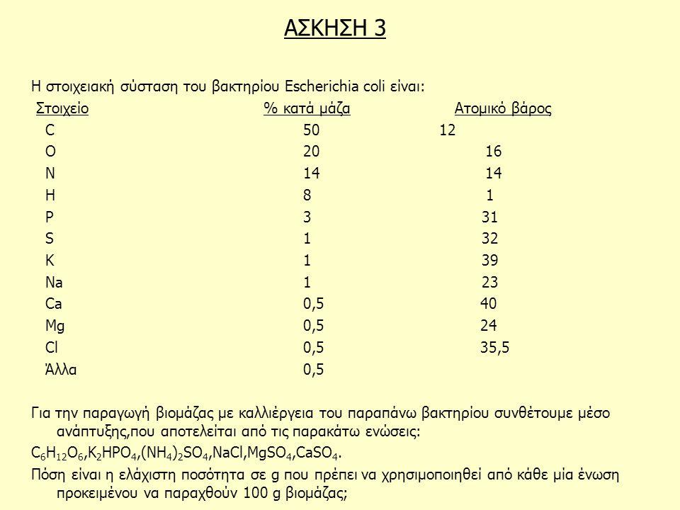 ΑΣΚΗΣΗ 3 Η στοιχειακή σύσταση του βακτηρίου Escherichia coli είναι: Στοιχείο % κατά μάζα Ατομικό βάρος C 5012 O 20 16 N 14 14 H 8 1 P 3 31 S 1 32 K 1