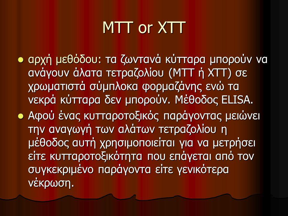 MTT or XTT αρχή μεθόδου: τα ζωντανά κύτταρα μπορούν να ανάγουν άλατα τετραζολίου (ΜΤΤ ή ΧΤΤ) σε χρωματιστά σύμπλοκα φορμαζάνης ενώ τα νεκρά κύτταρα δεν μπορούν.