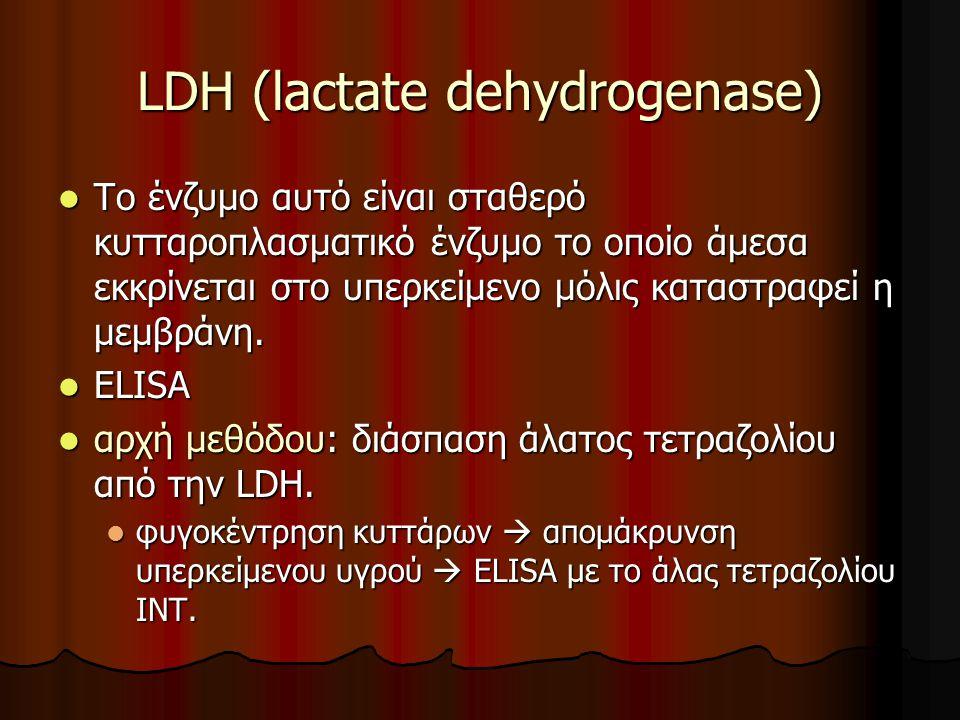 LDH (lactate dehydrogenase) Το ένζυμο αυτό είναι σταθερό κυτταροπλασματικό ένζυμο το οποίο άμεσα εκκρίνεται στο υπερκείμενο μόλις καταστραφεί η μεμβράνη.