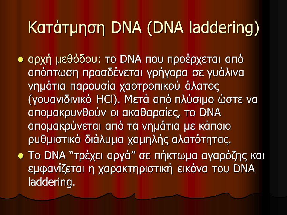 Κατάτμηση DNA (DNA laddering) αρχή μεθόδου: το DNA που προέρχεται από απόπτωση προσδένεται γρήγορα σε γυάλινα νημάτια παρουσία χαοτροπικού άλατος (γουανιδινικό ΗCl).