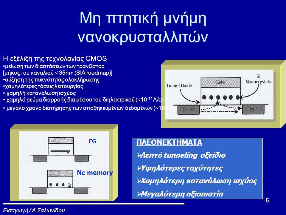16 Διάταξη νανοκρυσταλλιτών Control oxide tunneling oxide gate 3.5nm