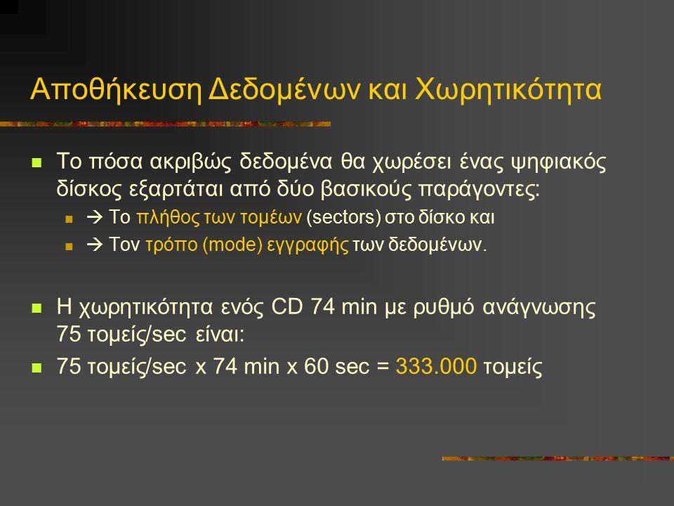 Aποθήκευση Δεδομένων και Xωρητικότητα Tο πόσα ακριβώς δεδομένα θα χωρέσει ένας ψηφιακός δίσκος εξαρτάται από δύο βασικούς παράγοντες:  Tο πλήθος των