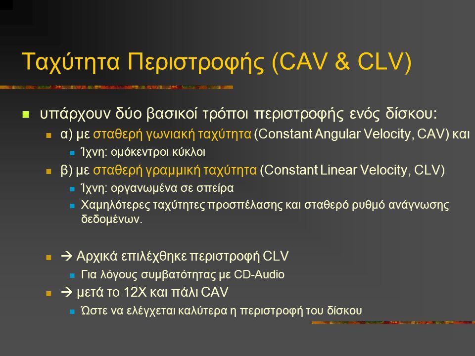 Tαχύτητα Περιστροφής (CAV & CLV) υπάρχουν δύο βασικοί τρόποι περιστροφής ενός δίσκου: α) με σταθερή γωνιακή ταχύτητα (Constant Angular Velocity, CAV)