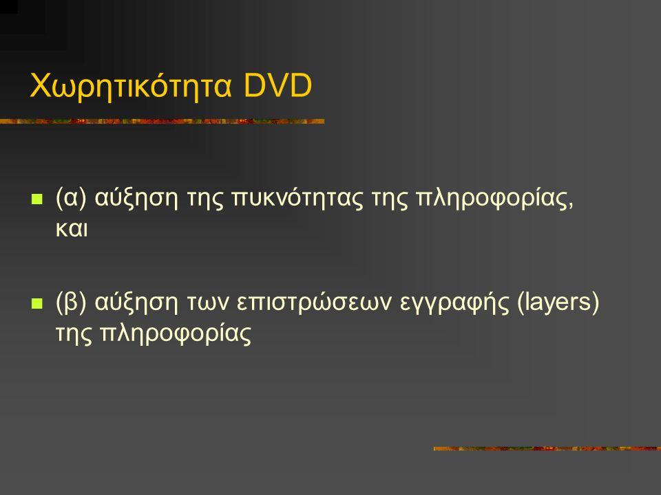 Χωρητικότητα DVD (α) αύξηση της πυκνότητας της πληροφορίας, και (β) αύξηση των επιστρώσεων εγγραφής (layers) της πληροφορίας
