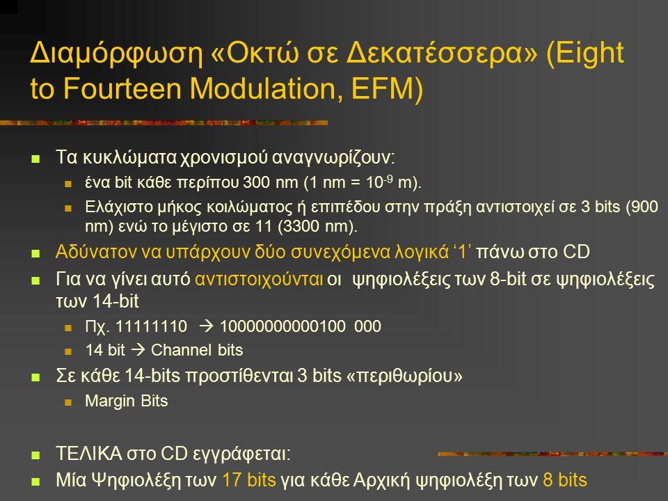 Διαμόρφωση «Οκτώ σε Δεκατέσσερα» (Eight to Fourteen Modulation, EFM) Tα κυκλώματα χρονισμού αναγνωρίζουν: ένα bit κάθε περίπου 300 nm (1 nm = 10 -9 m)