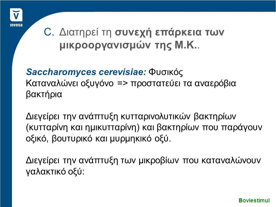 Boviestimul C.Διατηρεί τη συνεχή επάρκεια των μικροοργανισμών της Μ.Κ.. Saccharomyces cerevisiae: Φυσικός Καταναλώνει οξυγόνο => προστατεύει τα αναερό