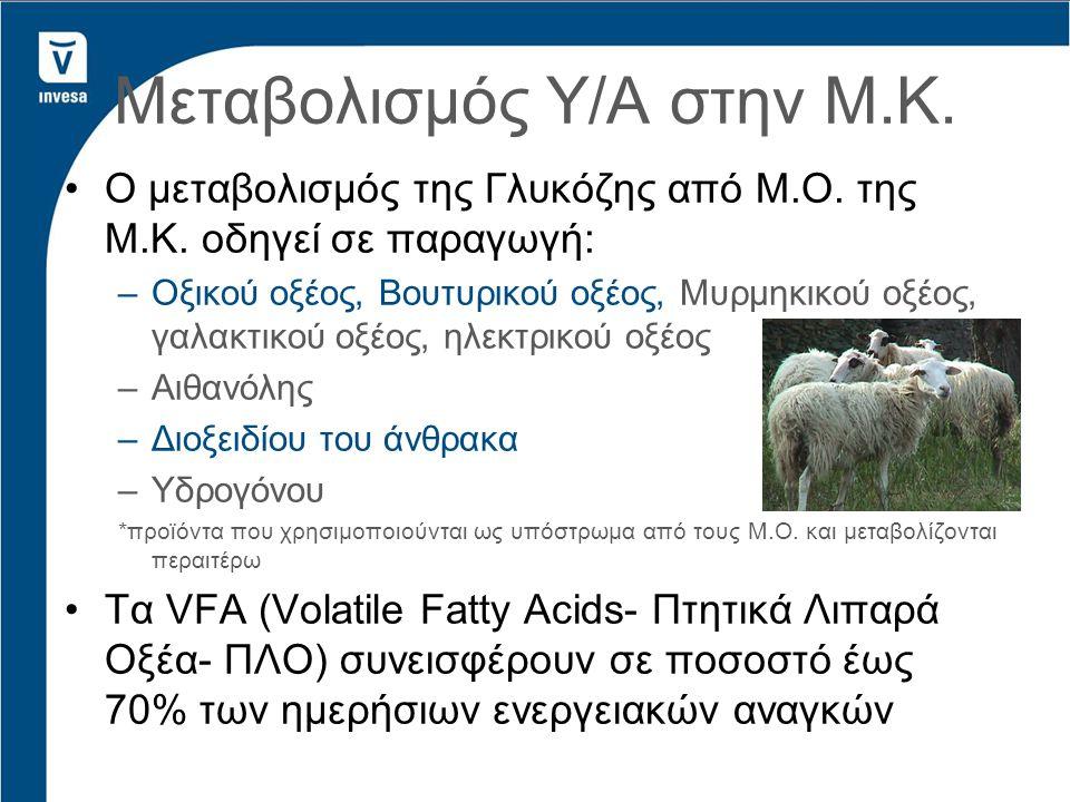 Ο μεταβολισμός της Γλυκόζης από Μ.Ο. της Μ.Κ. οδηγεί σε παραγωγή: –Οξικού οξέος, Βουτυρικού οξέος, Μυρμηκικού οξέος, γαλακτικού οξέος, ηλεκτρικού οξέο