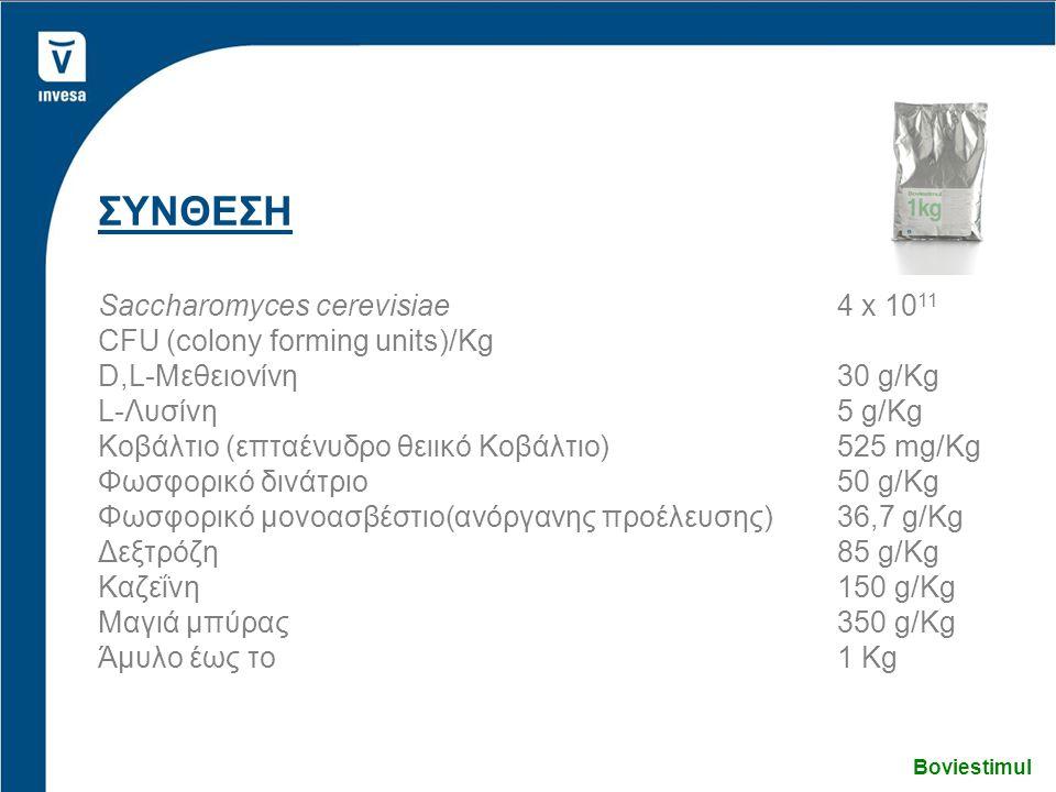 ΣΥΝΘΕΣΗ Saccharomyces cerevisiae4 x 10 11 CFU (colony forming units)/Kg D,L-Μεθειονίνη30 g/Kg L-Λυσίνη5 g/Kg Κοβάλτιο (επταένυδρο θειικό Κοβάλτιο)525