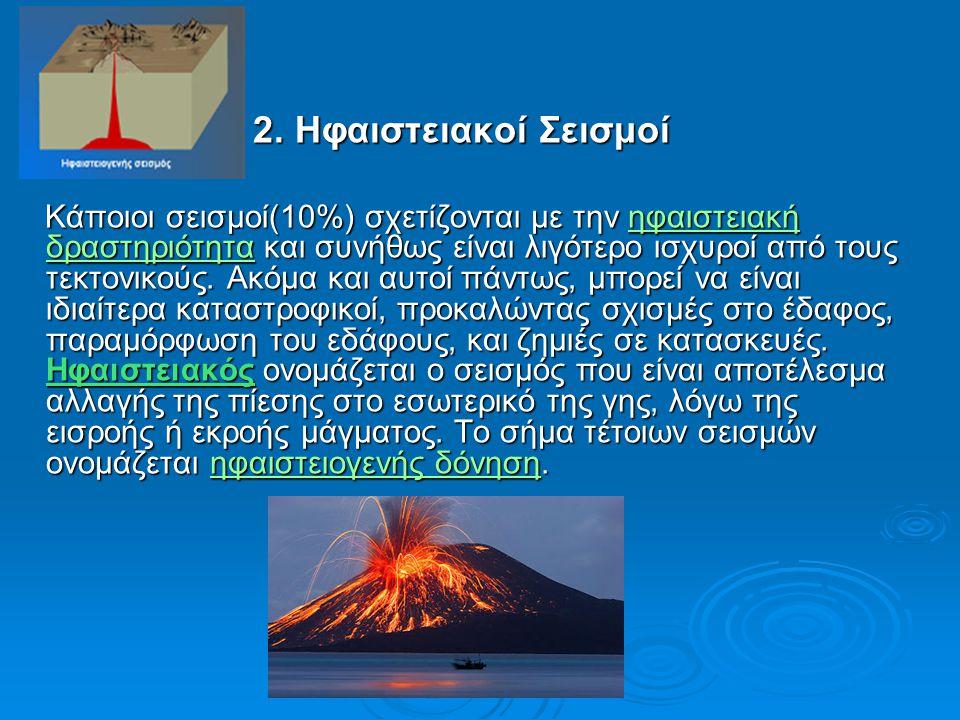 2. Ηφαιστειακοί Σεισμοί 2. Ηφαιστειακοί Σεισμοί Κάποιοι σεισμοί(10%) σχετίζονται με την ηφαιστειακή δραστηριότητα και συνήθως είναι λιγότερο ισχυροί α