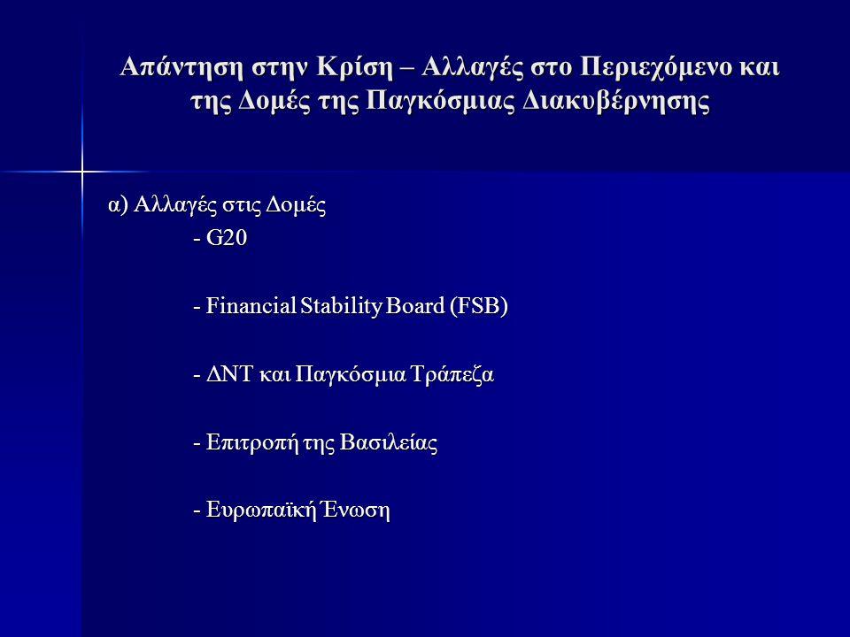 Απάντηση στην Κρίση – Αλλαγές στο Περιεχόμενο και της Δομές της Παγκόσμιας Διακυβέρνησης α) Αλλαγές στις Δομές - G20 - Financial Stability Board (FSB) - ΔΝΤ και Παγκόσμια Τράπεζα - Επιτροπή της Βασιλείας - Ευρωπαϊκή Ένωση