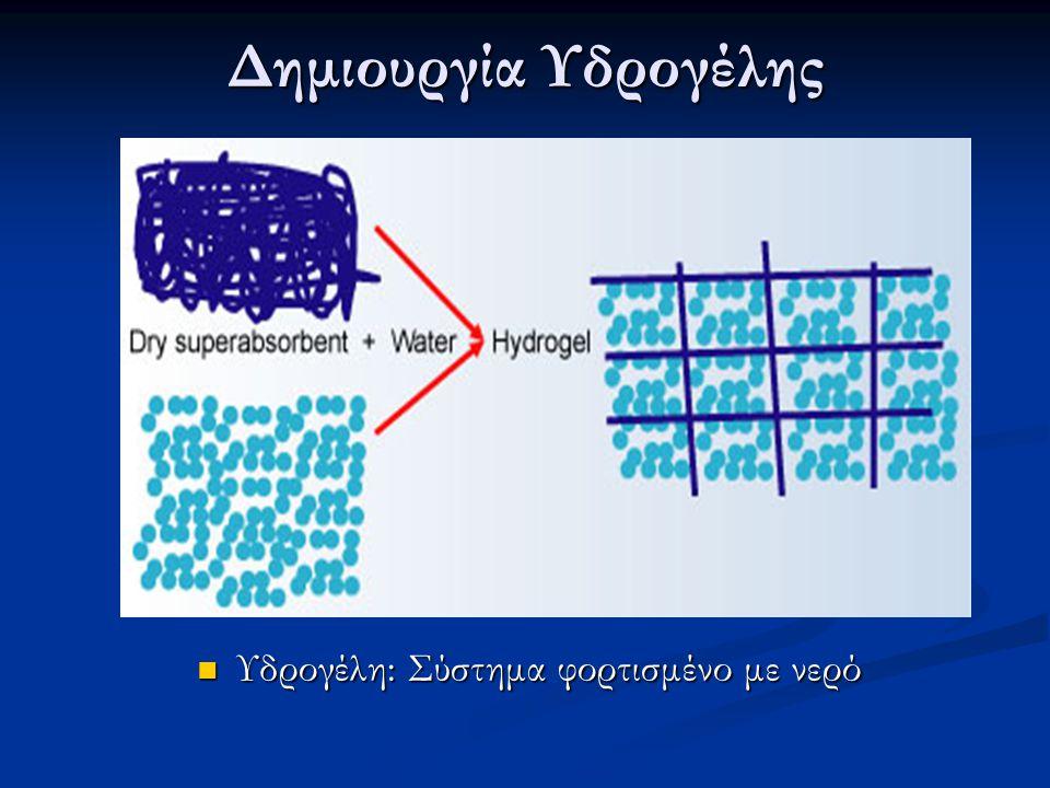 Δημιουργία Υδρογέλης Υδρογέλη: Σύστημα φορτισμένο με νερό Υδρογέλη: Σύστημα φορτισμένο με νερό